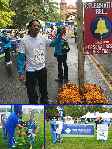 American Institute student Ricardo Jackson rings the bell to celebrate finishing his first half-marathon